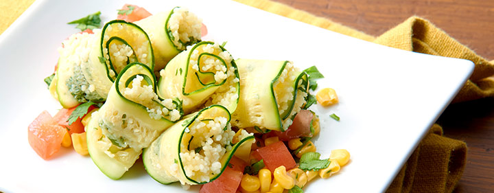 Steamed Zucchini Ribbons With Couscous